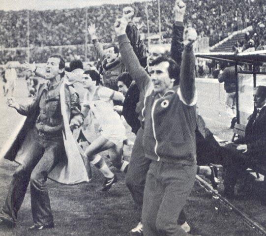 Roma-Torino, finale di Coppa Italia 1979/80, la panchina della Roma esulta